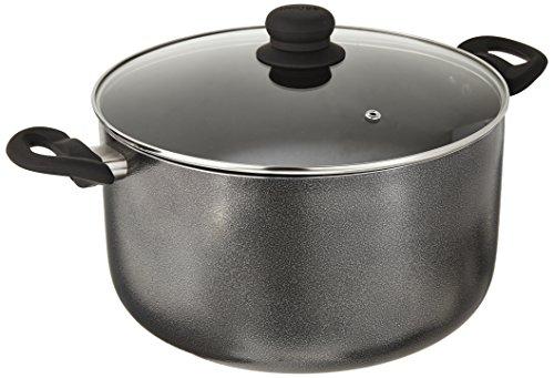 IMUSA USA IMU-91636 Charcoal Stock Pot with Glass Lid 10-Quart Dark Grey
