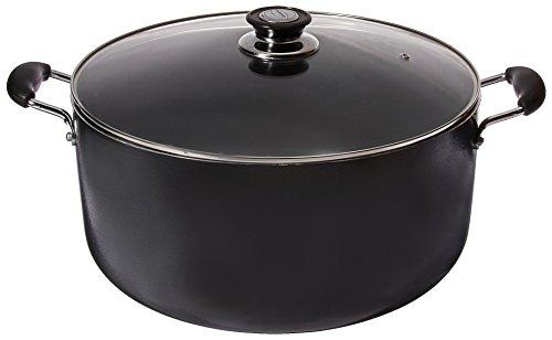 Uniware Non-Stick Aluminum Stock Pot With Glass LidBlack 18 QT