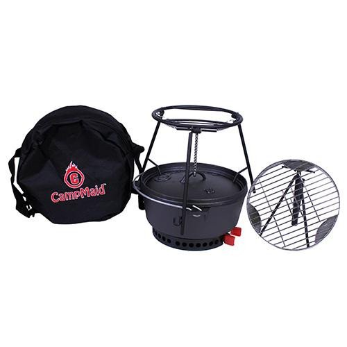 Campmaid Combo Set 12 OvenLid LifterFlip GrillCharcoalWood Holder Heat SourceKick StandStand