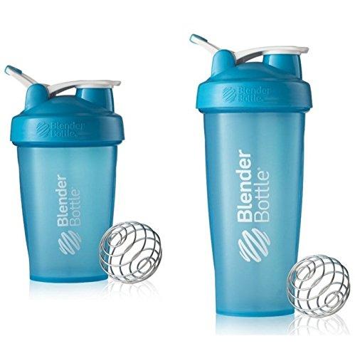 2 Pack Blender Bottle Classic 20 Oz 28 Oz Classic loop top Shaker Cup By SUNDESA Protein Shaker Full Aqua