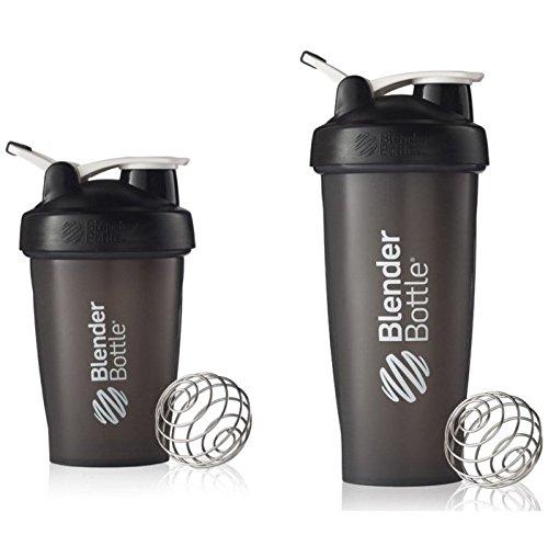 2 Pack Blender Bottle Classic 20 Oz 28 Oz Classic loop top Shaker Cup By SUNDESA Protein Shaker Full Black