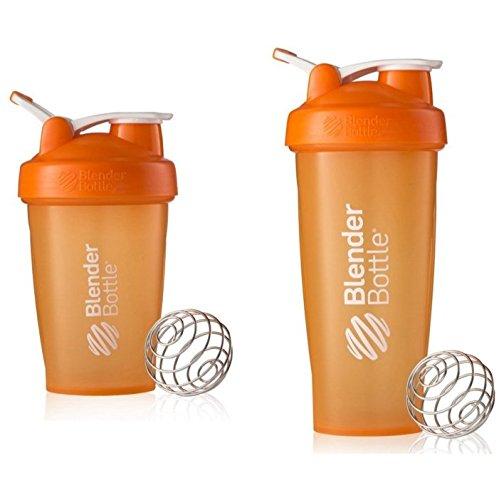2 Pack Blender Bottle Classic 20 Oz 28 Oz Classic loop top Shaker Cup By SUNDESA Protein Shaker Full Orange