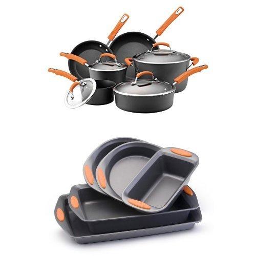 Rachael Ray Hard Anodized II Nonstick Dishwasher Safe 10-Piece Cookware Set Orange  5-Piece Bakeware Set Orange