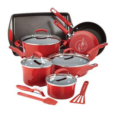 Rachael Ray Hard Enamel Nonstick Cookware Set 14-pc - Red