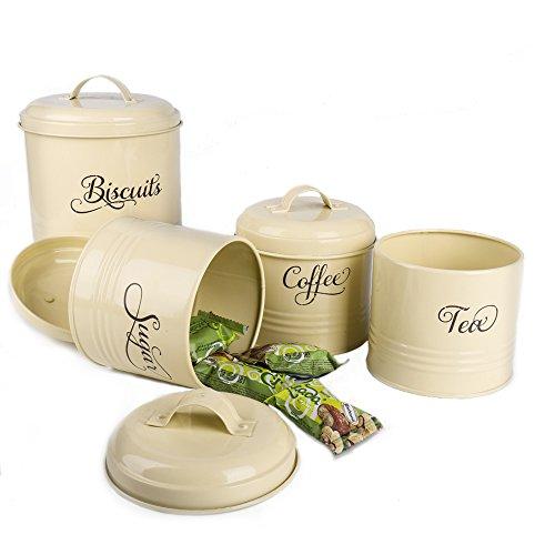 Hot Sale X687S Set of 4 Retro Metal Sugar Coffee Tea Storage Tin Canister Set