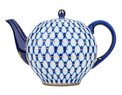 Fine Porcelain Cobalt Net Teapot Large Old Fashioned Vintage Bone China Tea Pot Cobalt Blue Teapot with Gold Sputtering