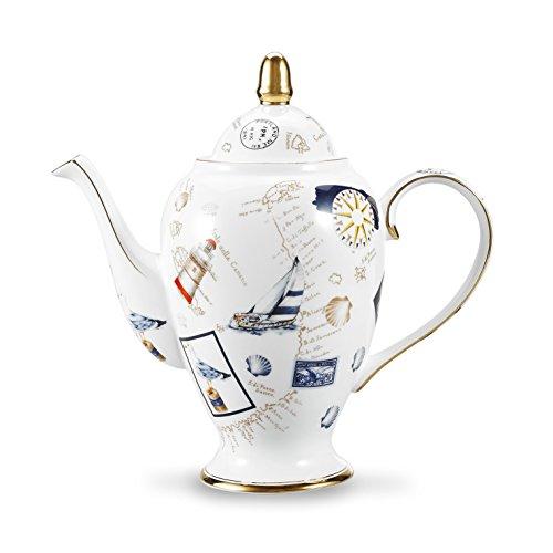 Panbado Bone China 95 Gold Rimmed 35 Ounce1000ml Porcelain Teapot Coffee Pot Stamp 255×12×245cm