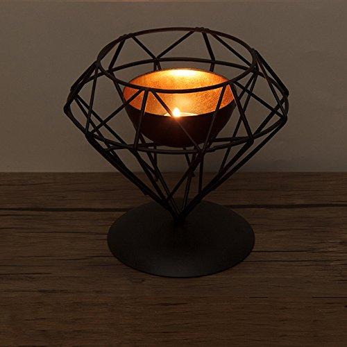 Modern Geometric Wrought Iron Candle Holders Home Decorations Romantic Candlelight Dinner Black Diamond shape