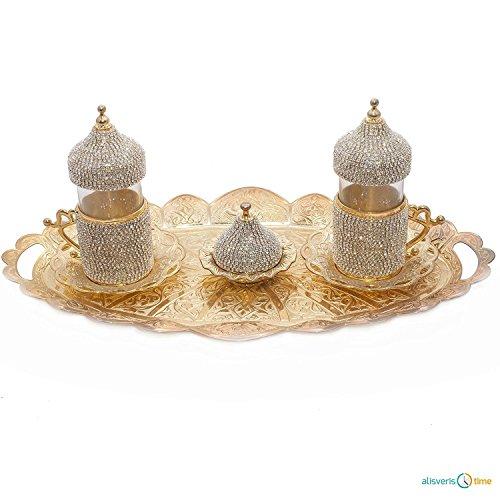 SET of 2 Turkish Tea Glasses Set Decorated with Swarovski Gold
