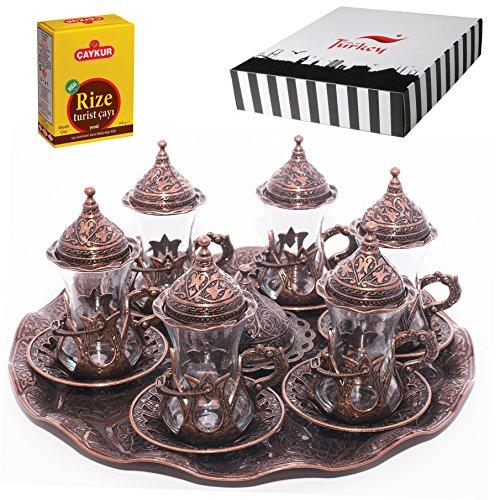 SET of 6 Turkish Tea Glasses Set Saucers Holders Spoons Decorated Copper Halkali