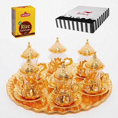 SET of 6 Turkish Tea Glasses Set Saucers Holders Spoons Decorated Gold Eski