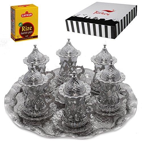 SET of 6 Turkish Tea Glasses Set Saucers Holders Spoons Decorated Silver Eski
