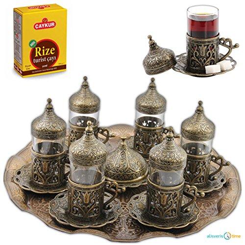 SET of 6Turkish Tea Glasses Set Saucers Holders SpoonsDecorated Autentic