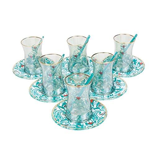 Ottoman Mint Special Series - Turkish Tea Glass Set Elegant Lace Blue 18 Piece  6 Glass  6 Saucers  6 Tea Spoon