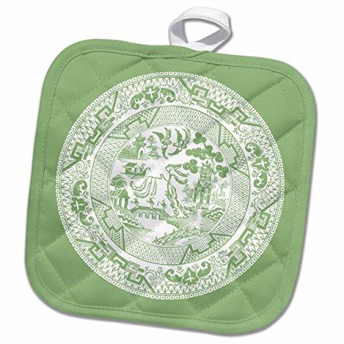 3D Rose Jade Green Willow Pattern Design Pot Holder 8 x 8