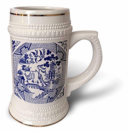 3dRose Russ Billington Designs - Willow Pattern Detail in Blue and White - 22oz Stein Mug stn_262242_1
