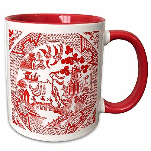 3dRose Russ Billington Designs - Willow Pattern Detail in Red and White - 11oz Two-Tone Red Mug mug_262245_5