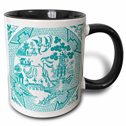 3dRose Russ Billington Designs - Willow Pattern Detail in Teal and White - 11oz Two-Tone Black Mug mug_262246_4
