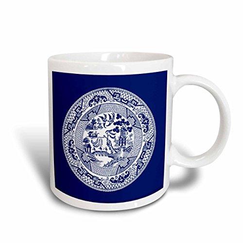 3dRose Willow Pattern in Delft Blue and White Ceramic Mug 15 oz White