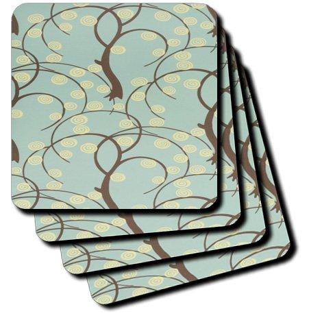 3dRose cst_100832_4 Art Deco Aqua N Brown Willow Pattern-Ceramic Tile Coasters Set of 8