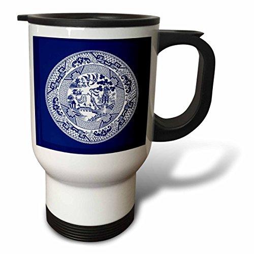 3dRose tm_220439_1 Willow Pattern in Delft Blue and White Travel Mug 14 oz White