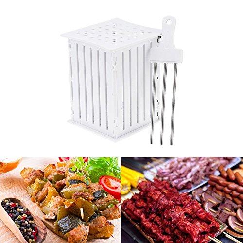 FLY5D 36 Holes BBQ Kabob Skewer Maker with Stainless Steel Skewers Kebab Maker Box Beef Meat Tools Barbecues Good Helper