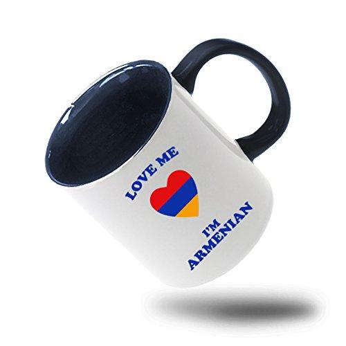 Style In Print Love Me IM Armenian Coffee Tea Colored Inside And Handle Mug WhiteBlue