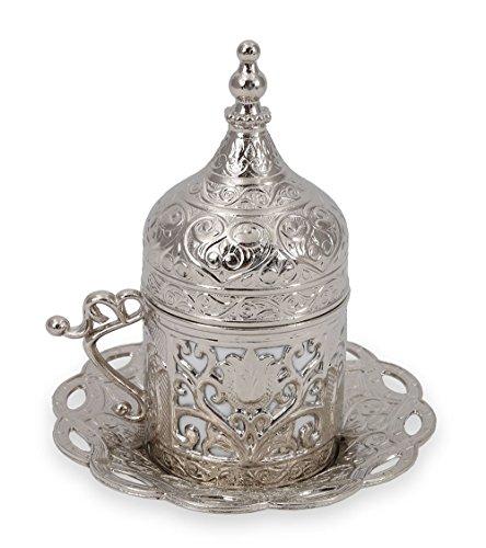 Traditional Design Brass Cast Turkish Armenian Arabic Greek Coffee Cup Mug Espresso Cup Tea Cup with Saucer-CC-210