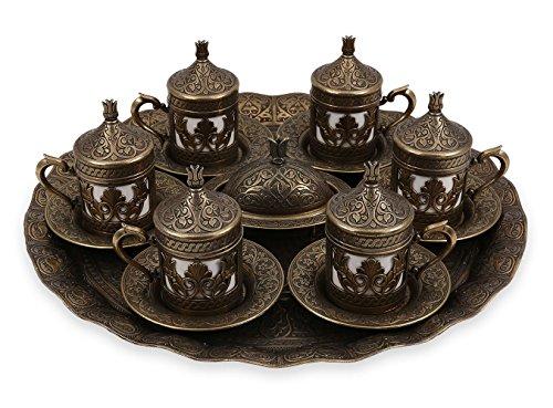 Traditional Design Brass Cast Turkish Armenian Arabic Greek Coffee Espresso Set Tea Set for Six - CS6-205