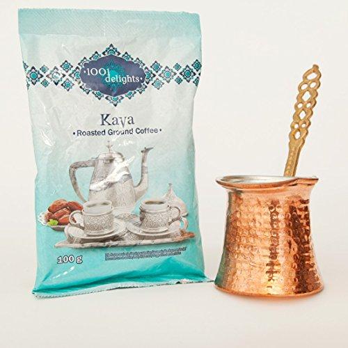 1001 Turkish Delights Turkish Roasted Coffe And Small Briki Coffee Pot Bundle - 100 Grams