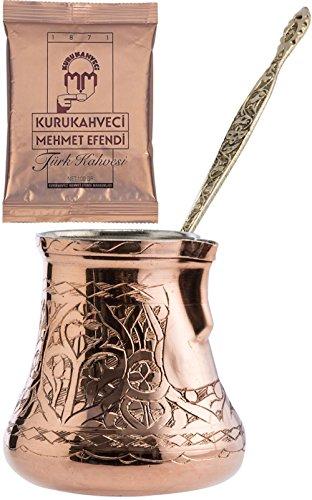 CopperBull 2016 Design XXL Heavy Duty Engraved Copper Turkish Greek Coffee Pot Stovetop Coffee Maker Cezve Ibrik Briki with Brass Handle 24 Oz