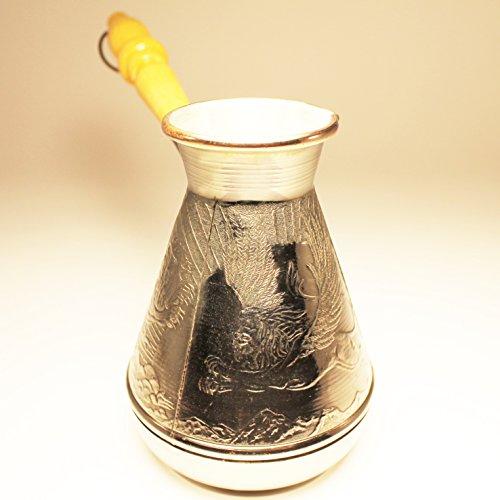 Turkish Greek Coffee Pot Winged Lion Volume 10 Oz - 300 ML Ibrik Briki Cezve Turka