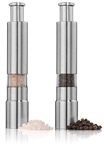 Salt And Pepper Grinder Set. Stainless Steel Salt And Pepper Mills Sleek Design Works Great With Peppercorns,