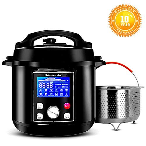 Simfonio Electric Pressure Cooker 6Qt - Simpot 10-in-1 Steamer Pot Rice Cooker Slow Cooker Egg Cooker Multi Cooker Yogurt Maker Cake Maker- Stainless Steel Hot Pot with Pressure Cooker Cookbook
