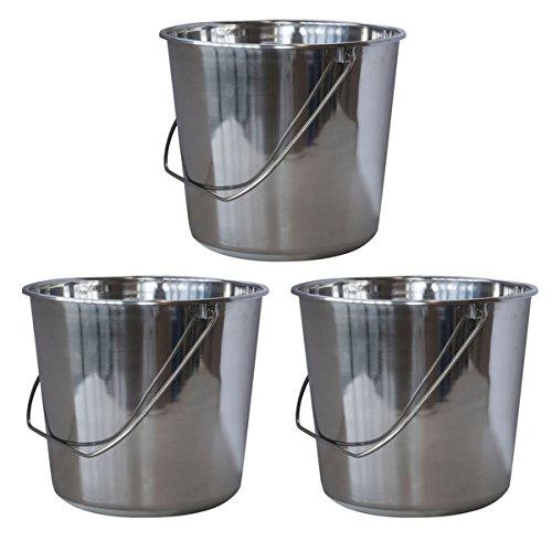 AmeriHome Medium Stainless Steel Bucket Set - 3 Piece 600605