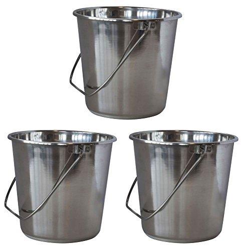 XLarge Stainless Steel Bucket - Set of 3