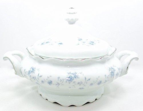 Bavaria Casserole Bowl with Lidwhiteblue Flowerssilver Trimside Handles