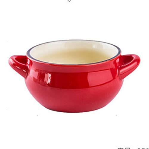 Bowls Anti-scalding Binaural Soup Bowl Red Casserole Bowl Home Baking Roasting Bowl Ceramic Bowl Rice Bowl Salad Bowl Instant Noodle Bowl Gift Color  Red Size  14855cm