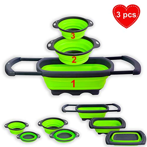 3 pcs Over the Sink  Kitchen Collapsible Colander Set-Silicone Vegetable and Pasta Strainer with Extendable Handle-Silicone Strainer Set for Draining-Heat Resistant-BPA Free-Foldable Strainer-Green