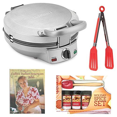 Cuisinart International Chef Crepe, Pizzelle & Pancake Plus Bundle With Mini-spatula Spice Set + 8-inch Tongs