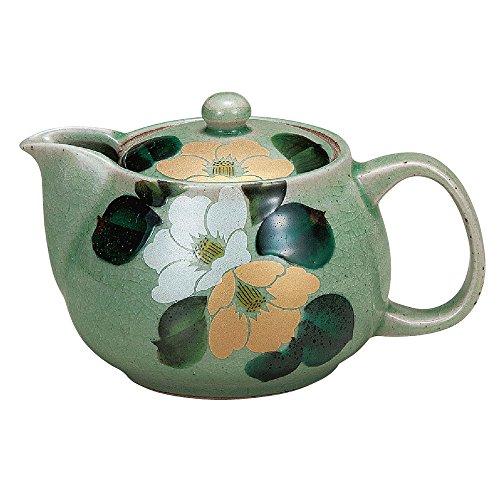 Kutani Yakiware Japanese Teapot Camellia with tea strainer