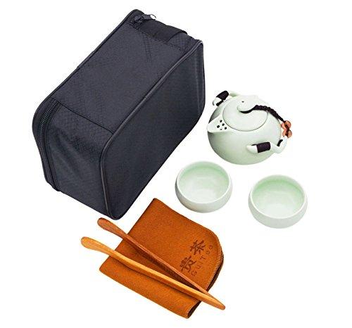 Vegali Chinese  Japanese Vintage Kungfu Gongfu Tea Set - Porcelain Teapot Teacups Tea Clip with a Portable Travel Bag Green