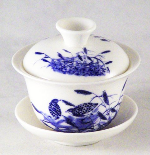 Bana Twin Quails Chinese Porcelain Gaiwan and Pu-erh Tea Sample