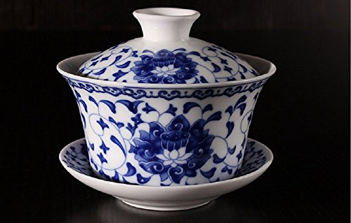 Jingdezhen Lotus Design Chinese Gaiwan Traditional Chinese Teaware China Traditional Blue and White Porcelain Large Gaiwan Kungfu Teacup by DELIFUR 350 ml
