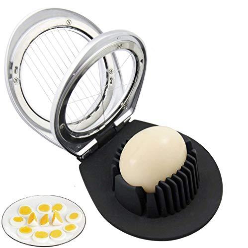 Egg Slicer Multi-function Egg Slicer 2-in-1 Slice and Wedge Cut Boiled Egg Slicer 9-Blade Stainless Steel Multi-Purpose Fruit Slicer Kitchen Tool Black