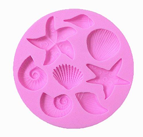 Efivs Arts Ocean Series Silicone Mold Fondant Mold Cupcake Starfish Shell Cake Decoration Tool 3 14 Inch