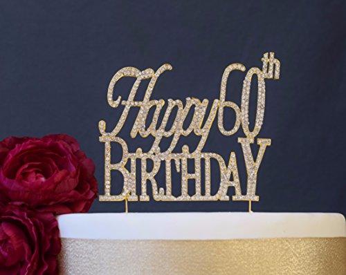 Happy 60th GOLD Birthday Cake Topper - 60 Rhinestone Birthday Cake Topper - Premium Quality Crystal Rhinestones - 60 Cake Decoration - Perfect Decoration Happy 60th Gold