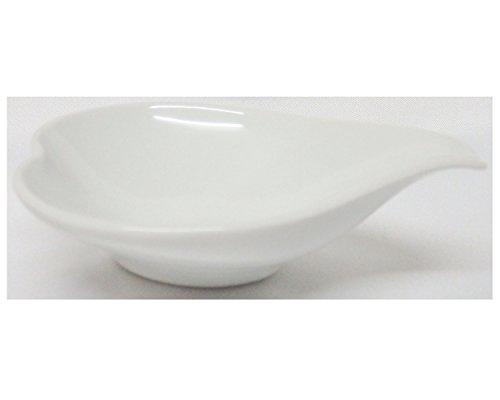 Set of 10 P4321 Amatahouse Elegant Canape with Handle Heart Shape Soy Sauce Spoon Dish Sushi Wasabi Bowls Royal Porcelain Classic White 2 34 inch
