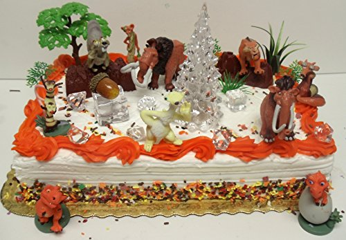 ICE AGE 22 Piece Birthday Cake Topper Featuring Crash Eddie Ellie Scrat Manny Sid and Othere Decorative Themed Accessories - Cake Topper Set Includes All Accessories Shown with Figures Ranging From 15 to 3 Tall