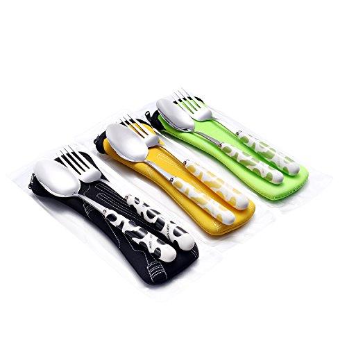 Fork Spoon Set with Carrying Case for Kids BlackGreenOrange